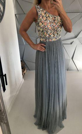 Luksusowa piękna maxi sukienka XS S wesele ślub studniówka koraliki