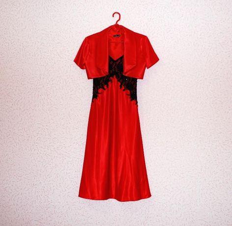 Вечернее красное платье сарафан с болеро. Размер S-M