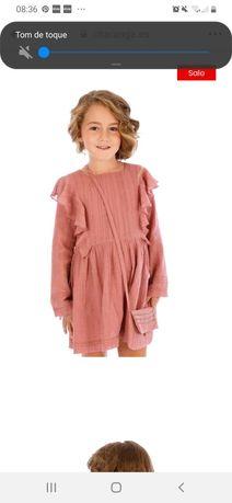 Vestido Charanga NOVO rosa criança 4-5 anos com mala