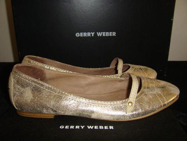 GERRY WEBER przepiękne złote balerinki z naturalnej skóry NOWE*37