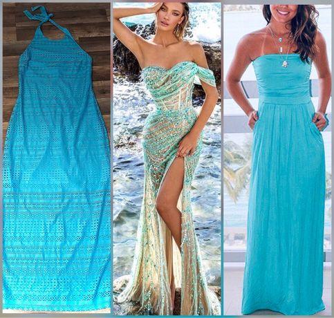 Piękna ażurowa długa suknia S/M