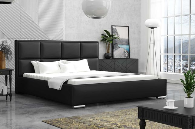 Łózko czarne sypialniane 140x200 CLEO styl LOFT