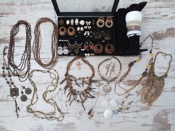 Zestaw biżuterii - mix drewniano-brązowy