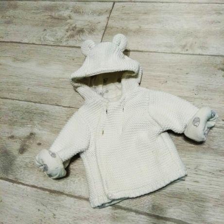 Вязаная детская кофта кардиган с ушками капюшон