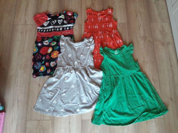 Sukienki letnie w roz.110-116, 3 używane i 1 nowa