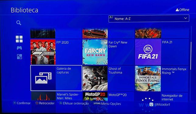 PS4 Pro 1tb + disco 1tb + 2 comandos + 25 jogos