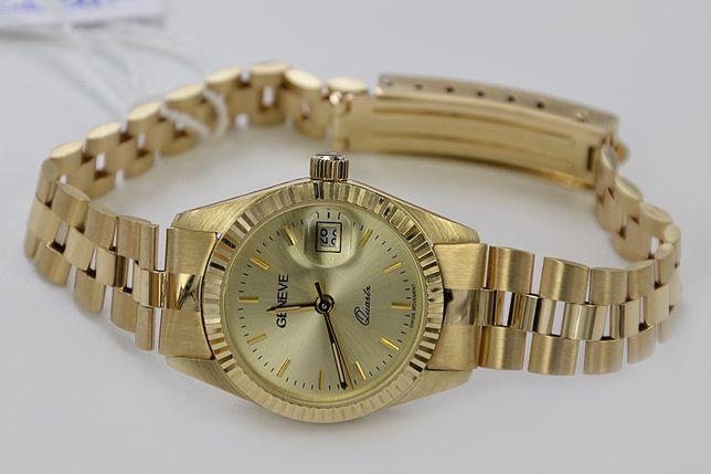 Złoty Prześliczny damski zegarek 34,6g (styl Rolex) Tanio! lw059y P
