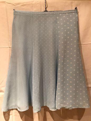 Reserved Spódnica zwiewna niebieska w groszki R.40