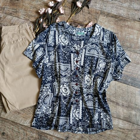 Винтажная блуза от frey(Франция) темно синяя с бежевым принтом-l-ка