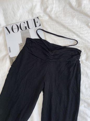 spodnie dzwony bawelniane biodrowki z paskiem stringi y2k szerokie