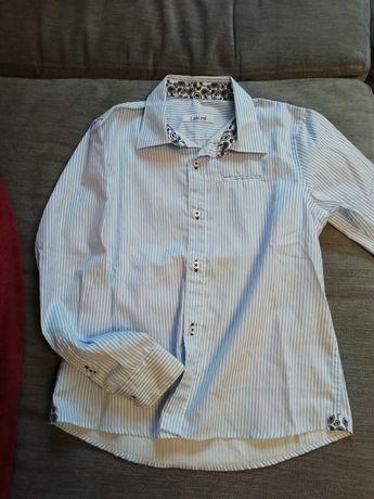 Рубашка на мальчика, бело-голубая полоска