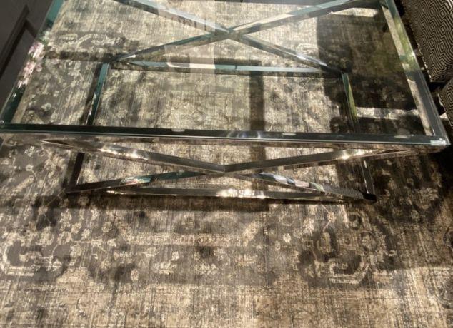 Vendo mesa de centro em inox e vidro