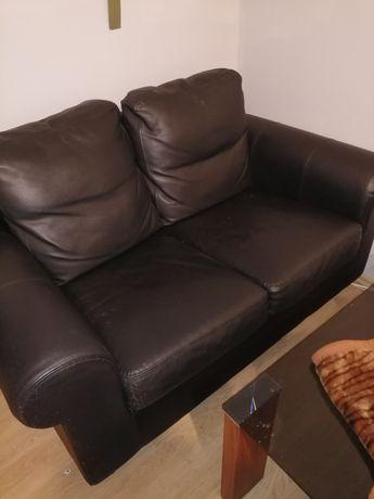 Sofa dwu osobowa skóra czarna