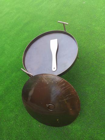 Сковорода із диска борони 50см+кришка.пательня.садж.мангал.сковорідка.