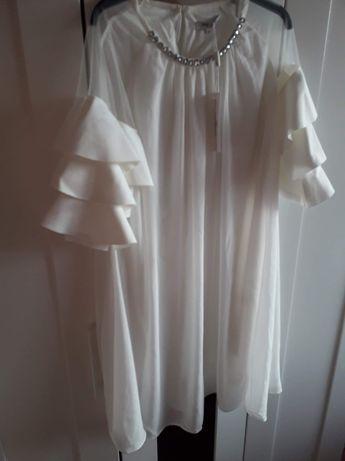 Sukienka ecru nowa z metką przewiewna