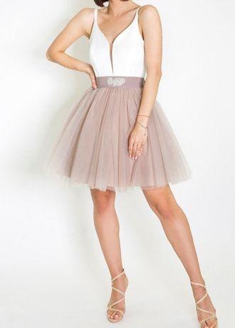 Sukienka Prom z tiulem beżowym