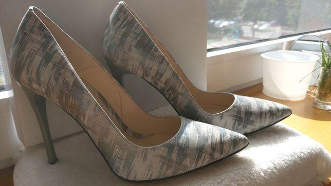 Tanio buty skórzane eleganckie, szpilki/czółenka nr38 POLSKI PRODUCENT