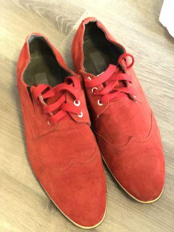Туфли красные ,замша ,размер 43