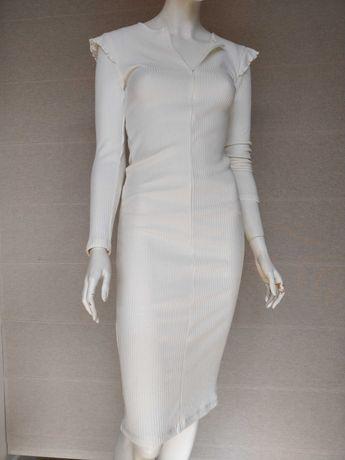 Vestido S justo midi branco com mangas Zara