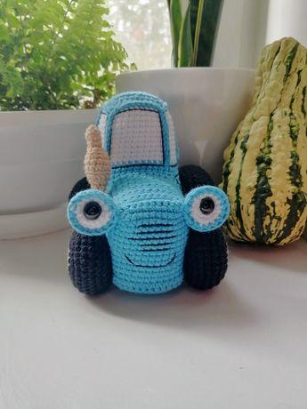 Синий трактор, трактор, мягкая игрушка, вязаная игрушка, эко игрушка