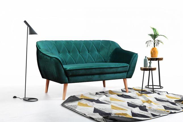 Sofa kanapa 2-osobowa na nóżkach pikowana SKANDY