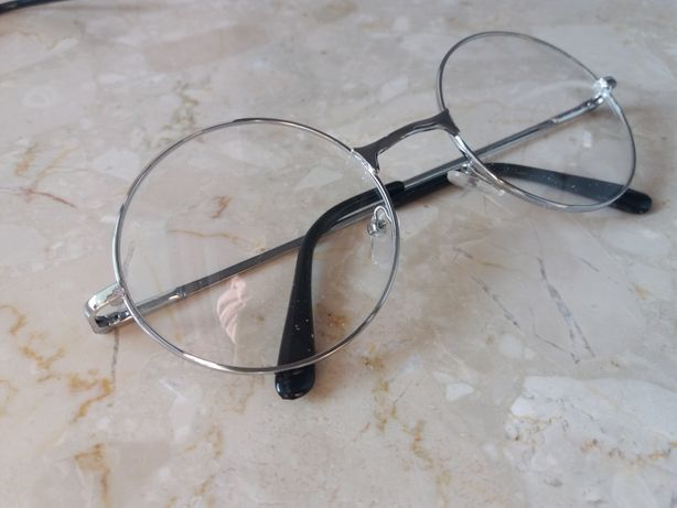 Okulary lenonki okrągłe zerówki przeźroczyste oprawki kolor srebrny