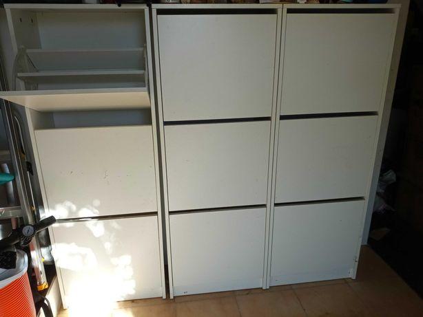 3x armários de sapatos brancos Ikea utilizados