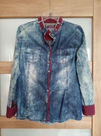 Jeansowa koszula z czerwonymi aplikacjami rozm. 38