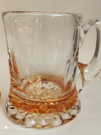 Пивная кружка 0,5 Толстое Янтарное стекло СССР