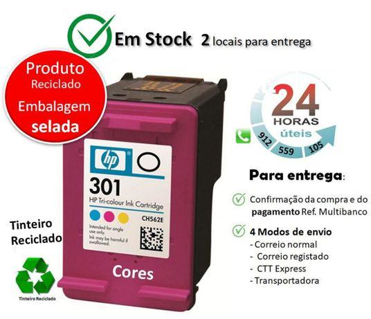 Tinteiro HP Reciclado Nº 301 | Cores +100% de tinta