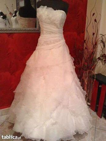 Suknia ślubna, r. 38, 174 cm, ECRU