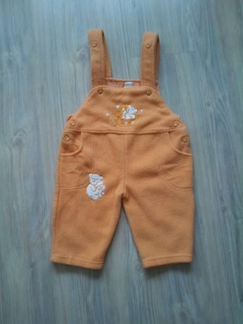 spodnie spodenki dziecięce r. 86 z polaru pomarańczowe