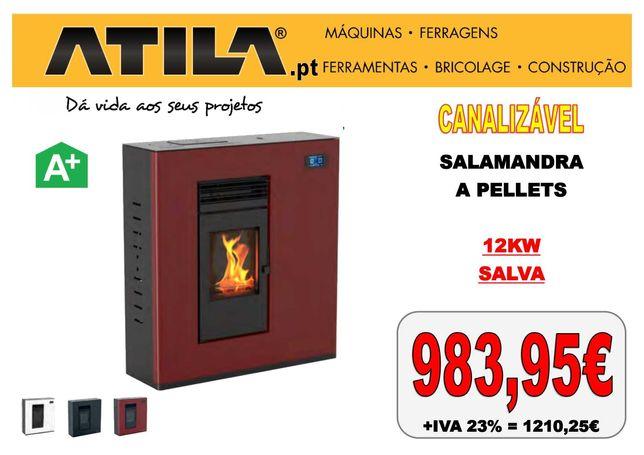 Salamandra a Pellets Canalizável 12KW Bordeaux | ATILA