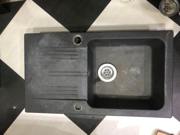 Zlewozmywak granitowy + syfon automatyczny