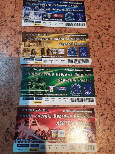 4 bilety siatkówka MKS Dąbrowa Górnicza, Liga Mistrzów, 2009 i 10 rok