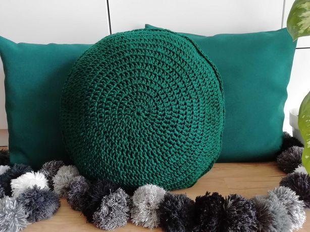 Ciemnozielone poszewki+okrągła poduszka na szydełku komplet rękodzieło