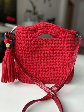 Mala vermelha tote bag crochet M-L