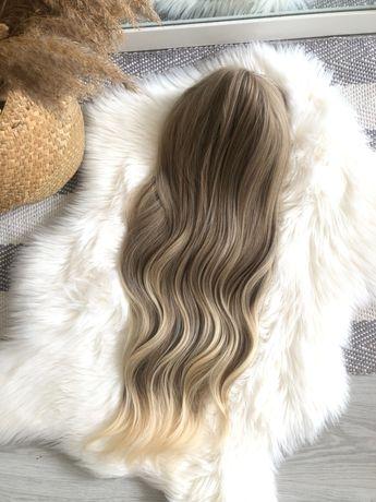 Peruka blond ombre refleksy falowana nowa grzywka