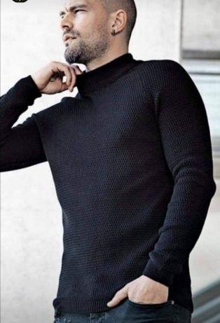 Sweter męski typu półgolf