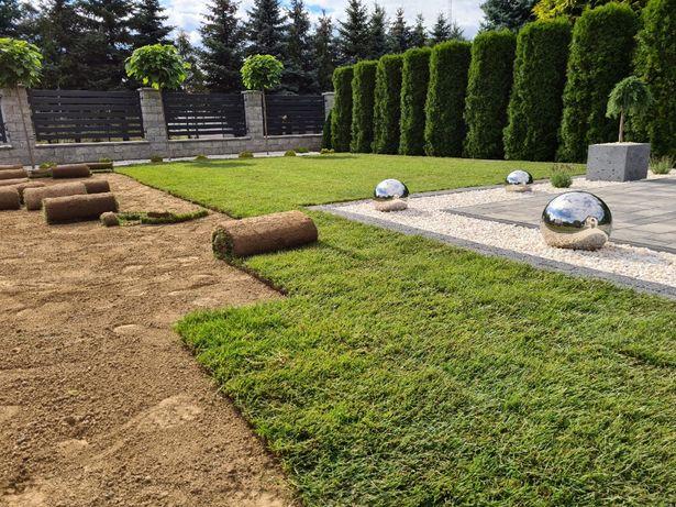 Projektowanie zakładanie ogrodów nawadnianie oświetlenie trawa z rolki