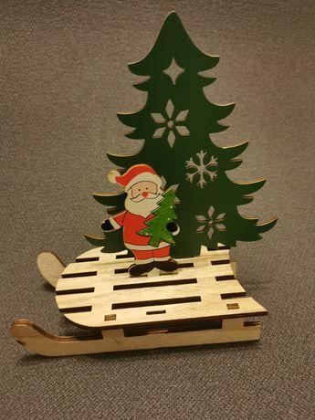 Figurinha de Natal em madeira + Caneca da Rena Rodolfo em porcelana