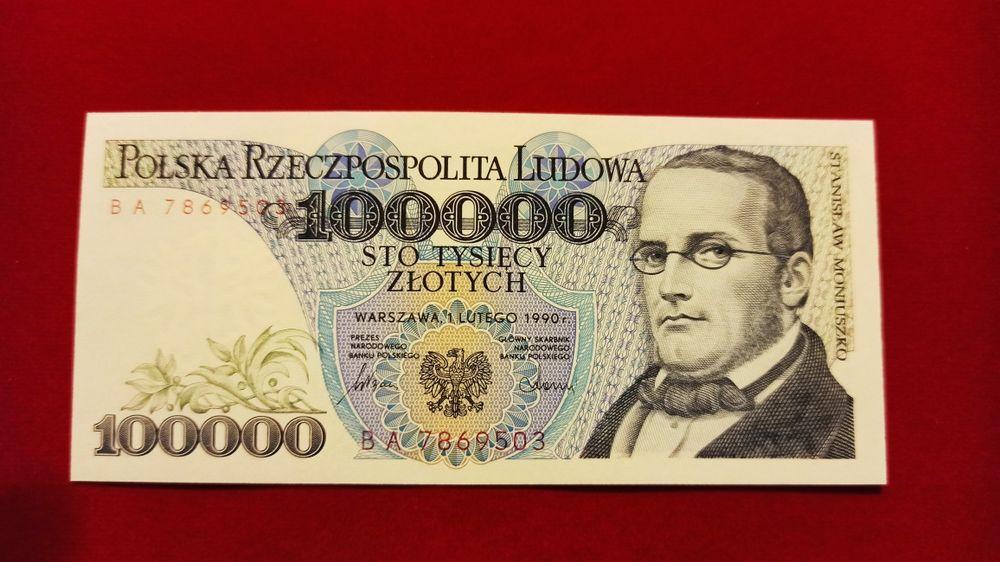 Banknot 100000 zł 1990 seria BA 100.000 UNC Moniuszko NBP PRL Pilzno - image 1