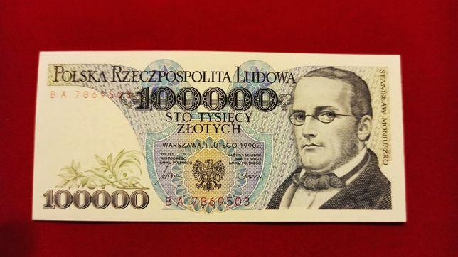 Banknot 100000 zł 1990 seria BA 100.000 UNC Moniuszko NBP PRL