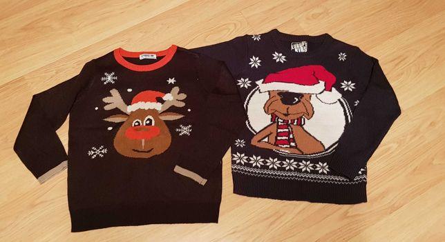 Swetr Święta 128/134 ubranka buciki 29-32 jesień zima