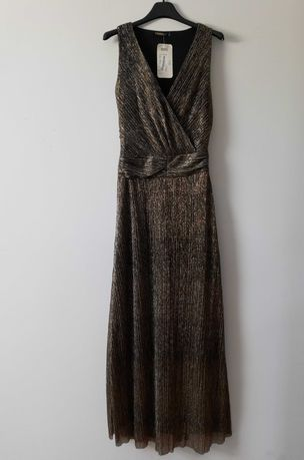 Długa sukienka złoto-srebrna S