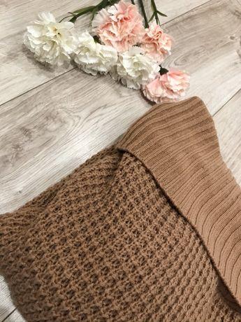 brązowy karmelowy sweter z dużym golfem gruby nietoperz uniwersalny L