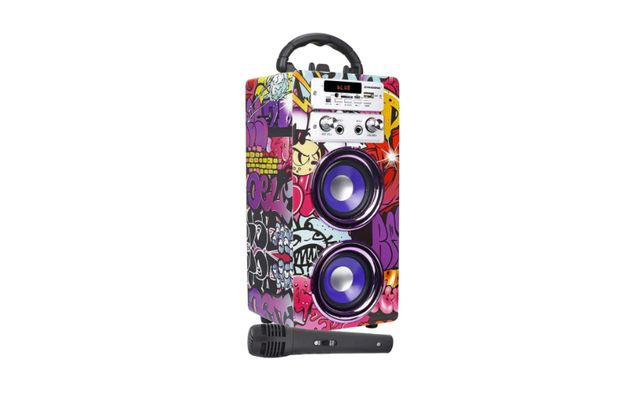 Coluna e microfone Bluetooth Portátil Karaoke Rádio FM e leitor USB SD