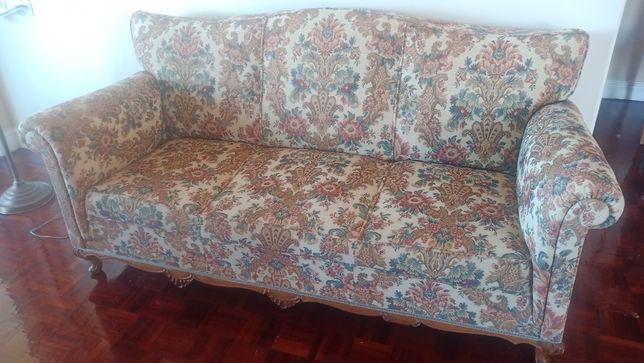 Sofa de 3 lugares retro anos 50 em bom estado
