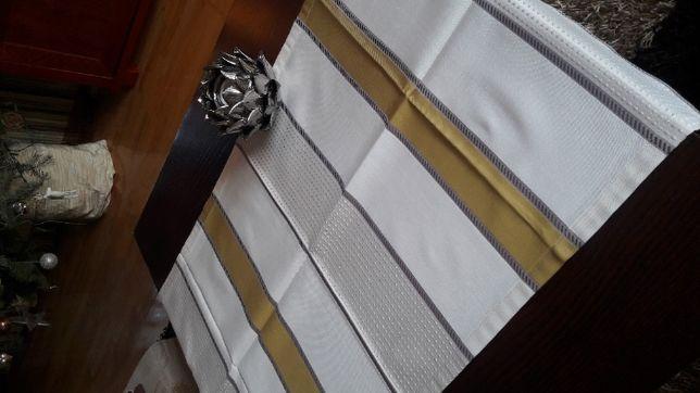 Bieżnik kremowo musztardowe pasy 51x103 serweta pasiak