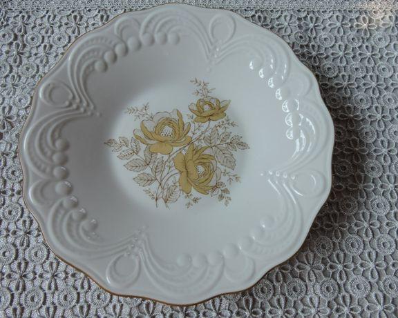 Talerz PM G biała złocona porcelana